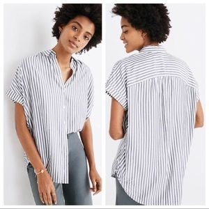 MADEWELL L Short Sleeve Stripe Button Down Top